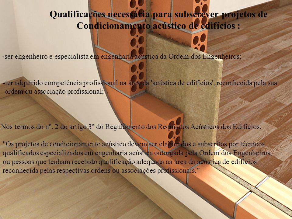 Qualificações necessária para subscrever projetos de Condicionamento acústico de edifícios : -ser engenheiro e especialista em engenharia acústica da