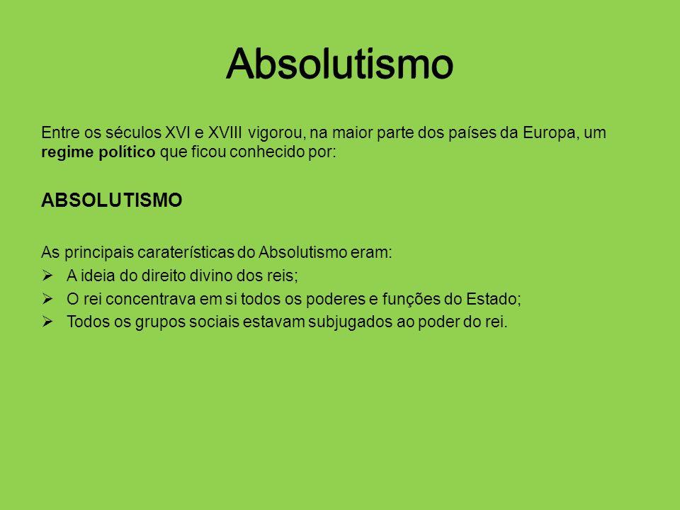 Absolutismo Entre os séculos XVI e XVIII vigorou, na maior parte dos países da Europa, um regime político que ficou conhecido por: ABSOLUTISMO As prin