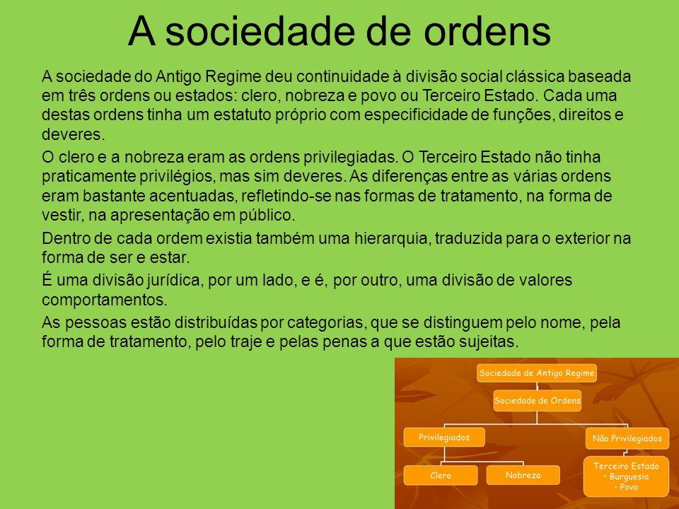 A sociedade de ordens A sociedade do Antigo Regime deu continuidade à divisão social clássica baseada em três ordens ou estados: clero, nobreza e povo ou Terceiro Estado.