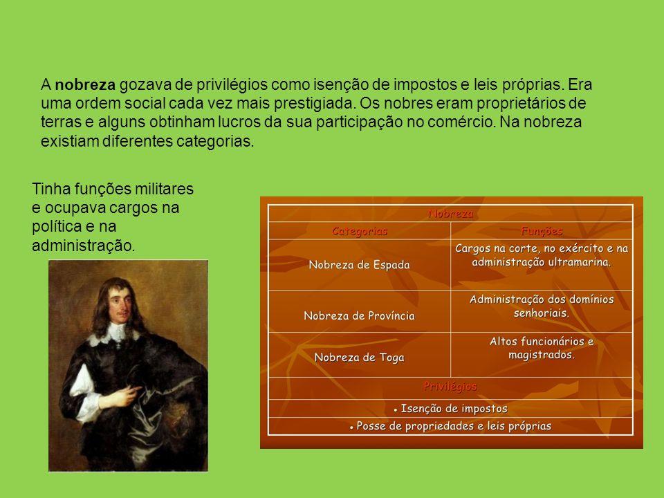 A nobreza gozava de privilégios como isenção de impostos e leis próprias.
