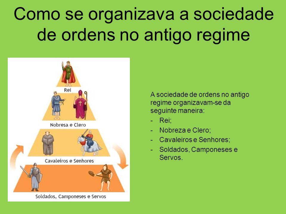 Como se organizava a sociedade de ordens no antigo regime A sociedade de ordens no antigo regime organizavam-se da seguinte maneira: -Rei; -Nobreza e Clero; -Cavaleiros e Senhores; -Soldados, Camponeses e Servos.