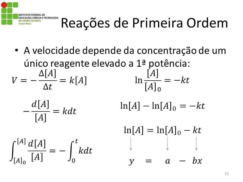 A velocidade depende da concentração de um único reagente elevado a 1ª potência: 13 Reações de Primeira Ordem