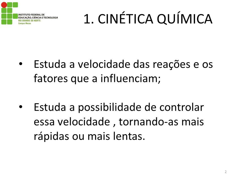1. CINÉTICA QUÍMICA Estuda a velocidade das reações e os fatores que a influenciam; Estuda a possibilidade de controlar essa velocidade, tornando-as m