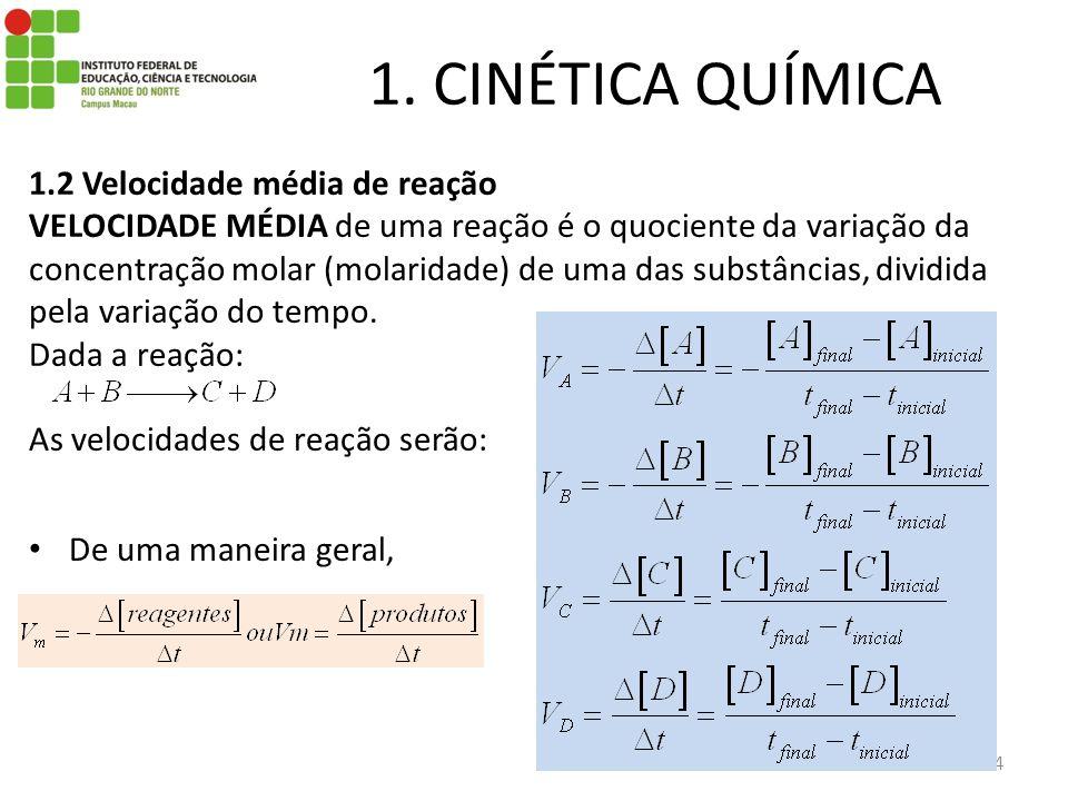 1. CINÉTICA QUÍMICA 4 1.2 Velocidade média de reação VELOCIDADE MÉDIA de uma reação é o quociente da variação da concentração molar (molaridade) de um