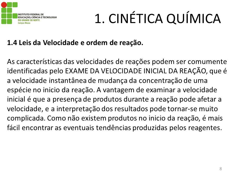 1. CINÉTICA QUÍMICA 8 1.4 Leis da Velocidade e ordem de reação. As características das velocidades de reações podem ser comumente identificadas pelo E