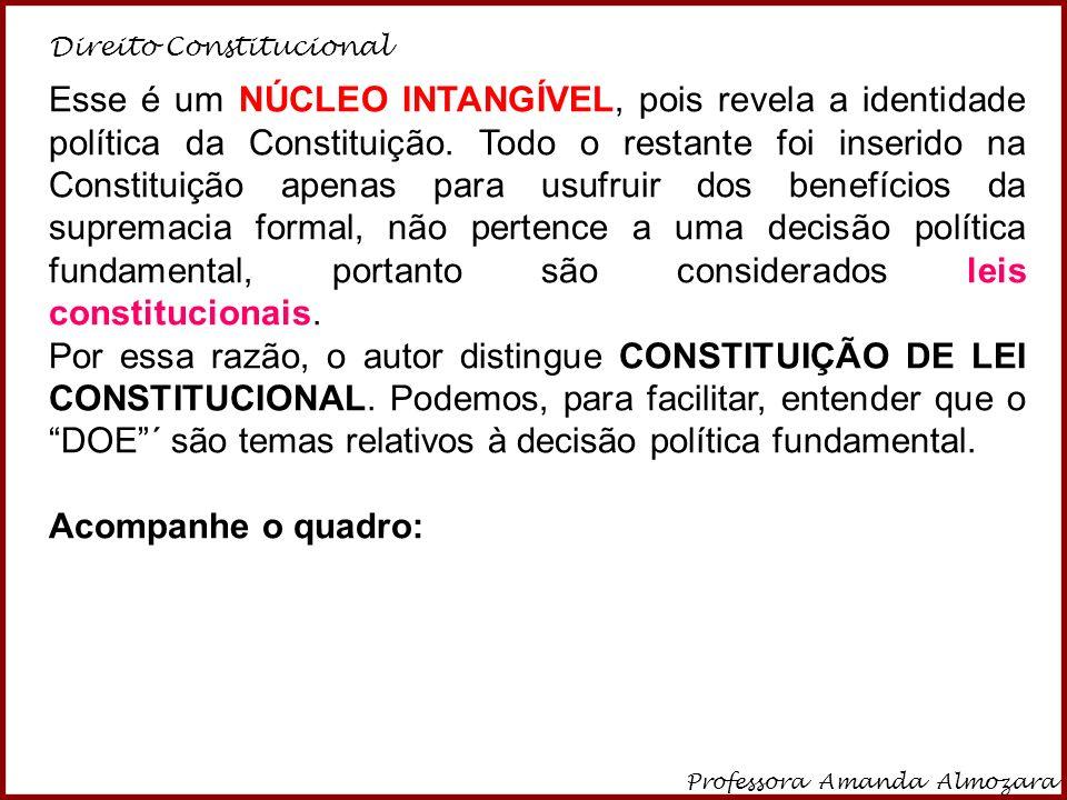 Direito Constitucional Professora Amanda Almozara 13 Esse é um NÚCLEO INTANGÍVEL, pois revela a identidade política da Constituição. Todo o restante f
