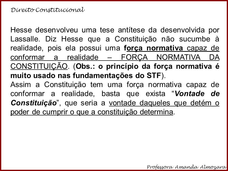 Direito Constitucional Professora Amanda Almozara 16 Hesse desenvolveu uma tese antítese da desenvolvida por Lassalle. Diz Hesse que a Constituição nã