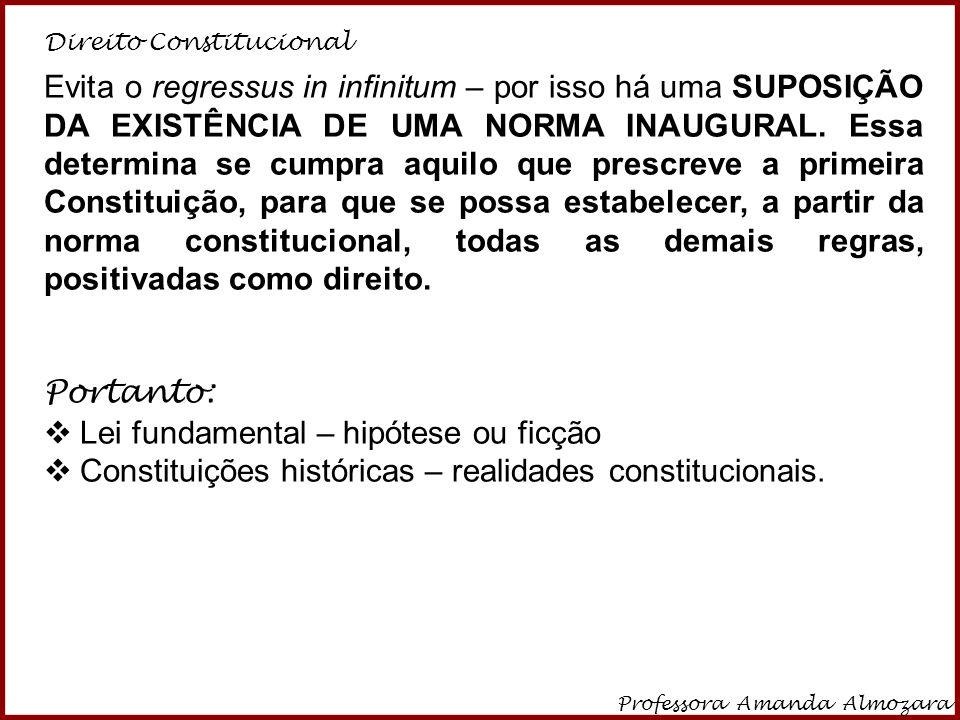 Direito Constitucional Professora Amanda Almozara 21 Evita o regressus in infinitum – por isso há uma SUPOSIÇÃO DA EXISTÊNCIA DE UMA NORMA INAUGURAL.