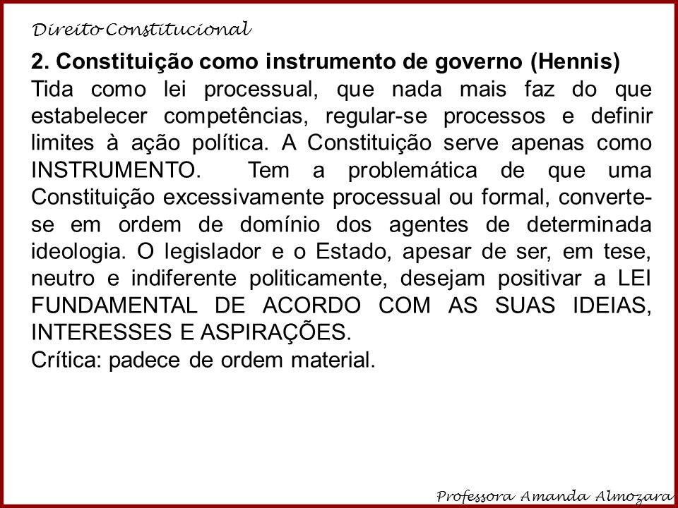 Direito Constitucional Professora Amanda Almozara 25 2. Constituição como instrumento de governo (Hennis) Tida como lei processual, que nada mais faz
