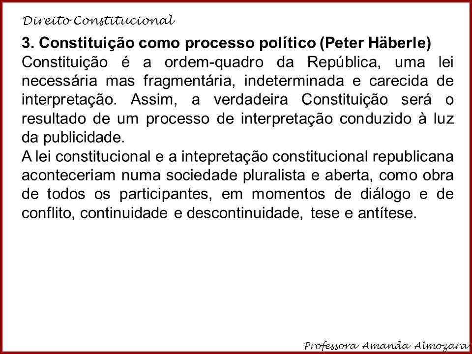 Direito Constitucional Professora Amanda Almozara 26 3. Constituição como processo político (Peter Häberle) Constituição é a ordem-quadro da República