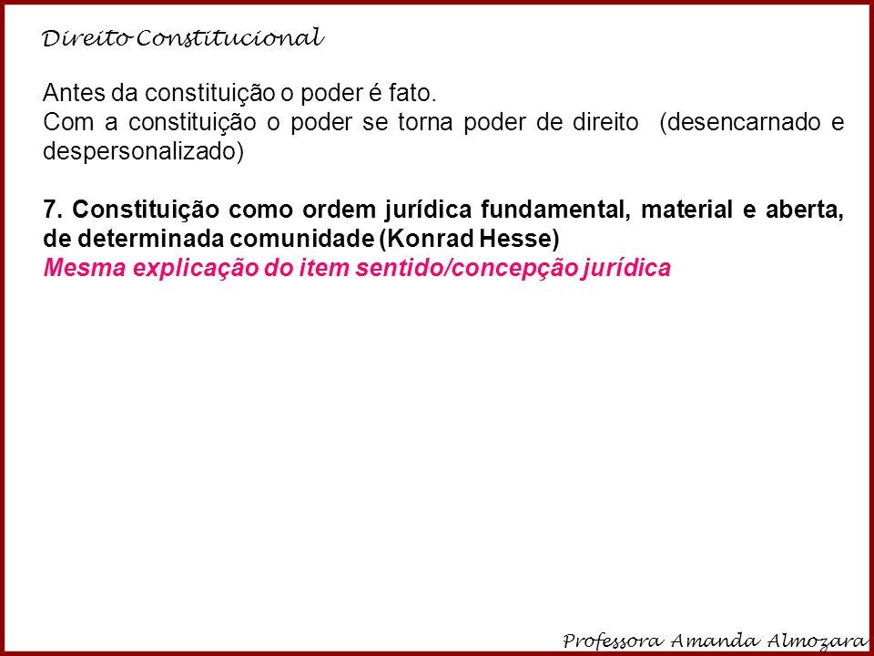 Direito Constitucional Professora Amanda Almozara 29 Antes da constituição o poder é fato. Com a constituição o poder se torna poder de direito (desen