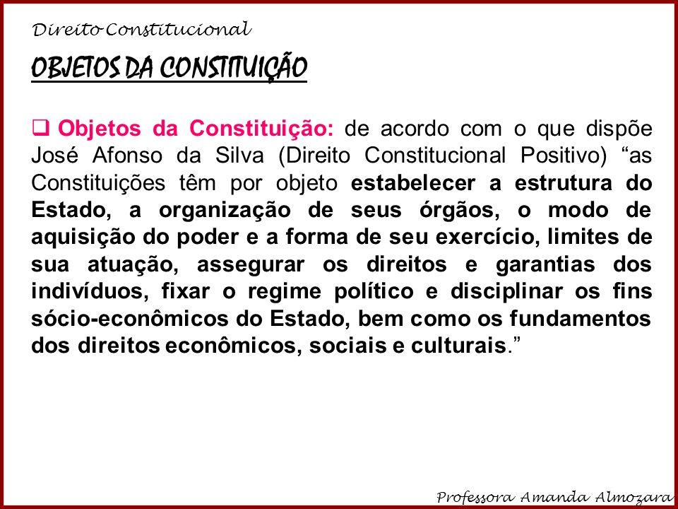 Direito Constitucional Professora Amanda Almozara 30 OBJETOS DA CONSTITUIÇÃO Objetos da Constituição: de acordo com o que dispõe José Afonso da Silva
