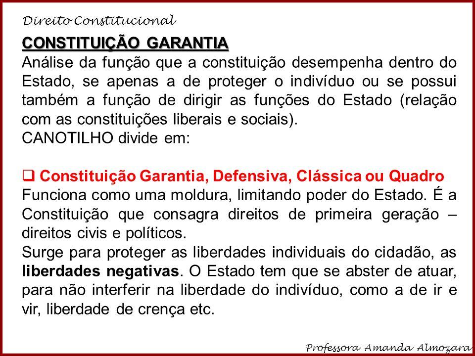 Direito Constitucional Professora Amanda Almozara 5 A Constituição garantia, portanto, é aquela que consagra apenas as liberdades negativas (ou impedimento) e os princípios materiais estruturantes do Estado.