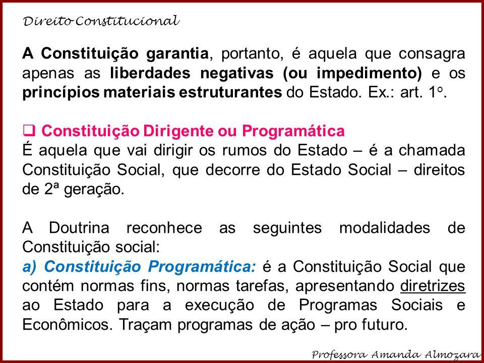 Direito Constitucional Professora Amanda Almozara 5 A Constituição garantia, portanto, é aquela que consagra apenas as liberdades negativas (ou impedi