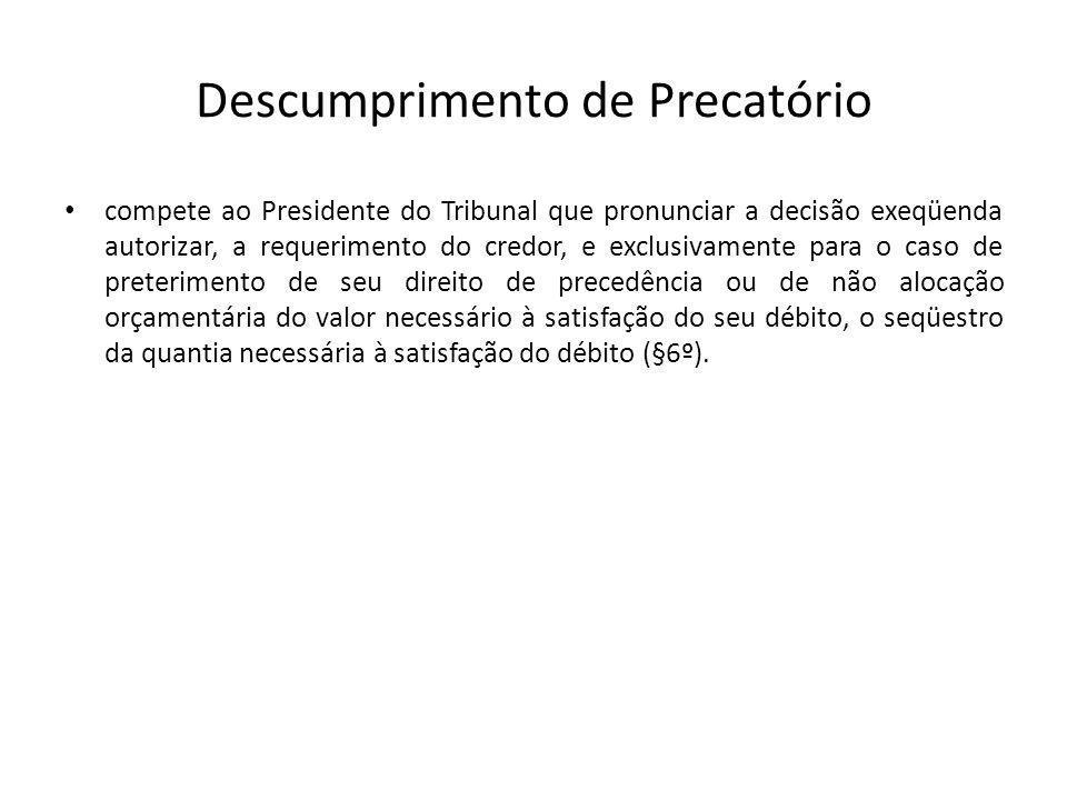 Descumprimento de Precatório compete ao Presidente do Tribunal que pronunciar a decisão exeqüenda autorizar, a requerimento do credor, e exclusivament