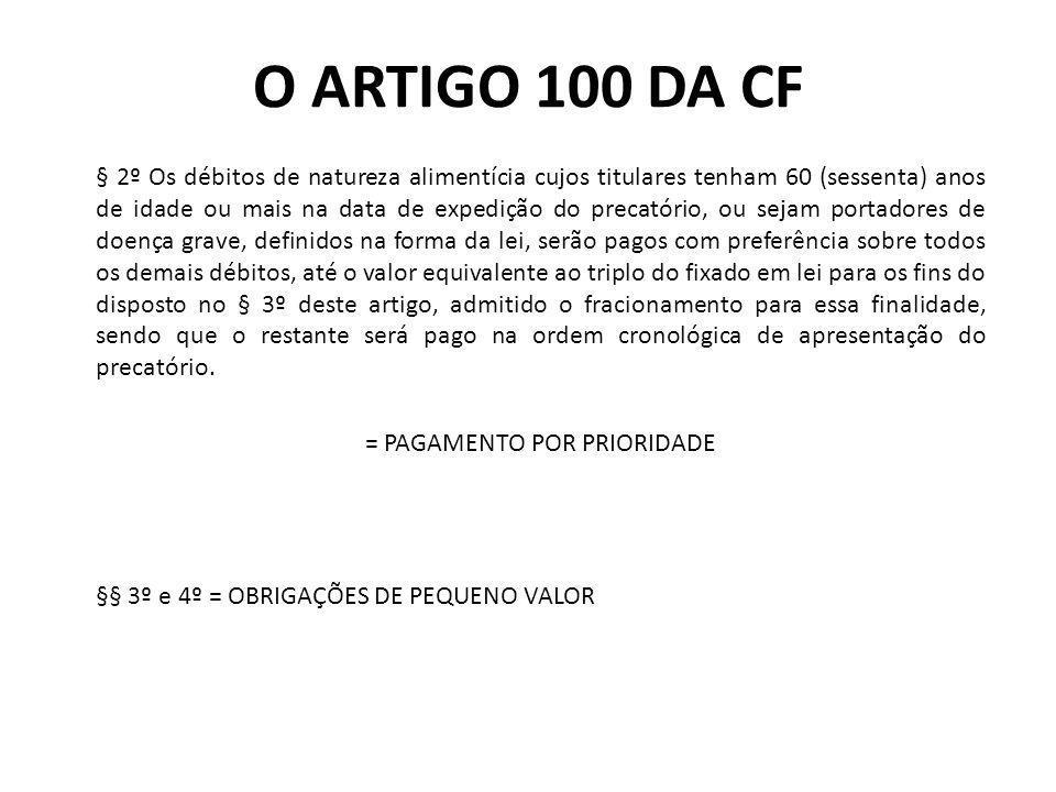 O ARTIGO 100 DA CF § 2º Os débitos de natureza alimentícia cujos titulares tenham 60 (sessenta) anos de idade ou mais na data de expedição do precatór