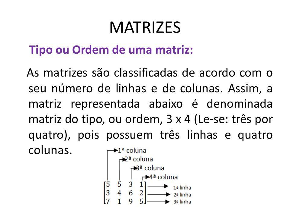 MATRIZES Tipo ou Ordem de uma matriz: As matrizes são classificadas de acordo com o seu número de linhas e de colunas. Assim, a matriz representada ab