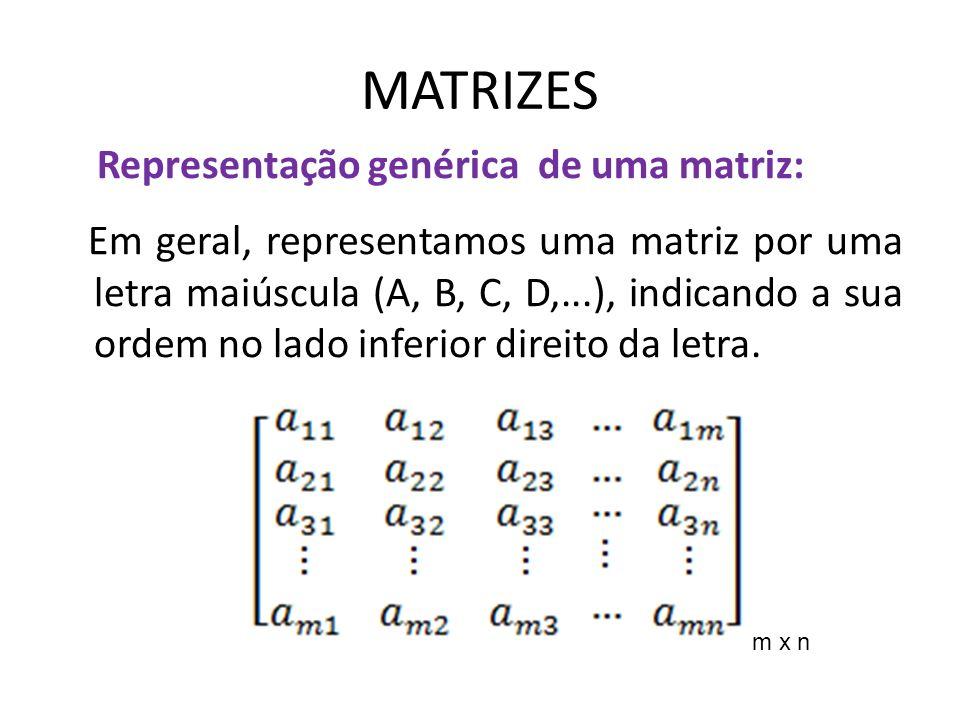 MATRIZES Representação genérica de uma matriz: Para indicar uma matriz qualquer, de modo genérico, usamos a seguinte notação: Onde i representa a linha, e j a coluna em que se encontra o elemento; o m a quantidade de linha e n a quantidade de coluna.