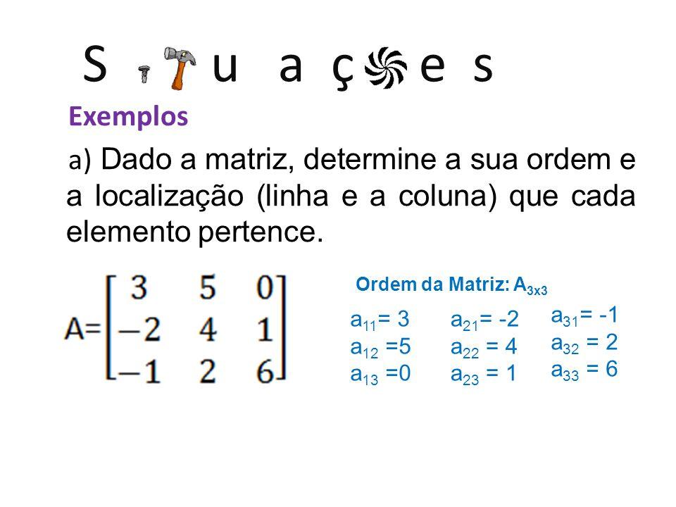 S u a ç e s Exemplos a) Dado a matriz, determine a sua ordem e a localização (linha e a coluna) que cada elemento pertence. Ordem da Matriz: A 3x3 a 1