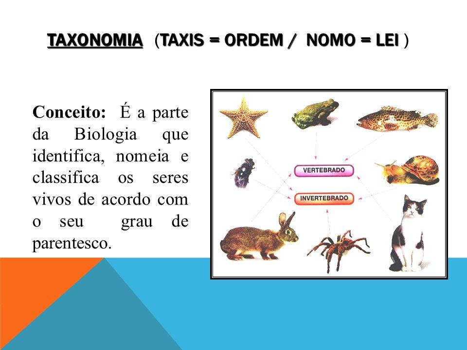 TAXONOMIA TAXIS = ORDEM / NOMO = LEI TAXONOMIA (TAXIS = ORDEM / NOMO = LEI ) Conceito: É a parte da Biologia que identifica, nomeia e classifica os seres vivos de acordo com o seu grau de parentesco.