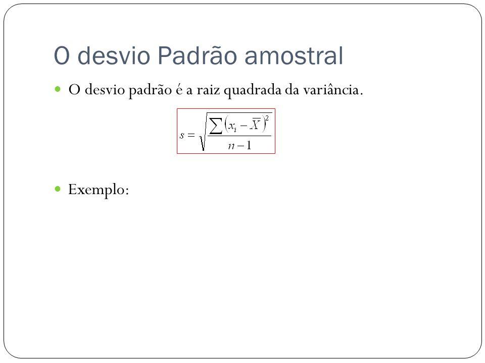 O desvio Padrão amostral O desvio padrão é a raiz quadrada da variância. Exemplo: