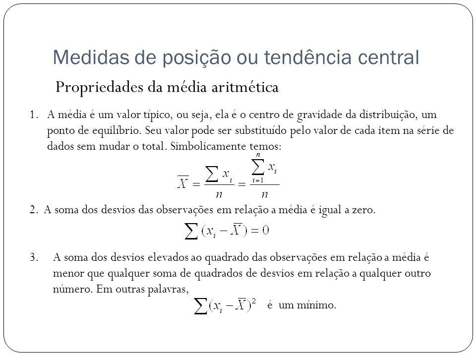 Medidas de posição ou tendência central Propriedades da média aritmética 1.A média é um valor típico, ou seja, ela é o centro de gravidade da distribu