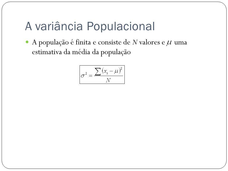 A variância Populacional A população é finita e consiste de N valores e uma estimativa da média da população