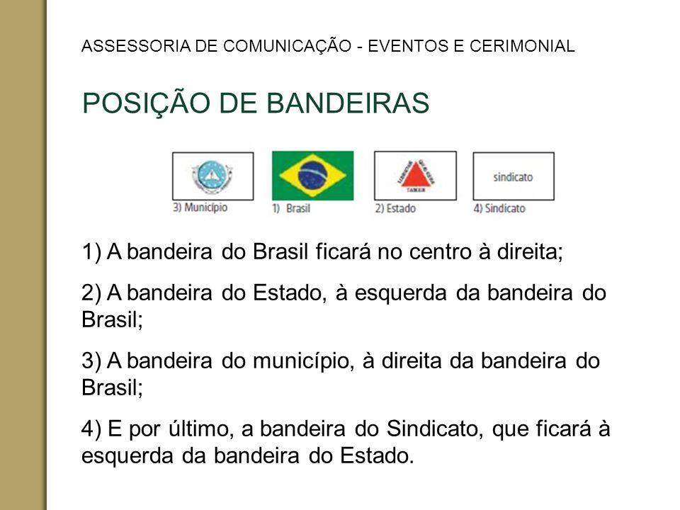 POSIÇÃO DE BANDEIRAS 1) A bandeira do Brasil ficará no centro à direita; 2) A bandeira do Estado, à esquerda da bandeira do Brasil; 3) A bandeira do município, à direita da bandeira do Brasil; 4) E por último, a bandeira do Sindicato, que ficará à esquerda da bandeira do Estado.