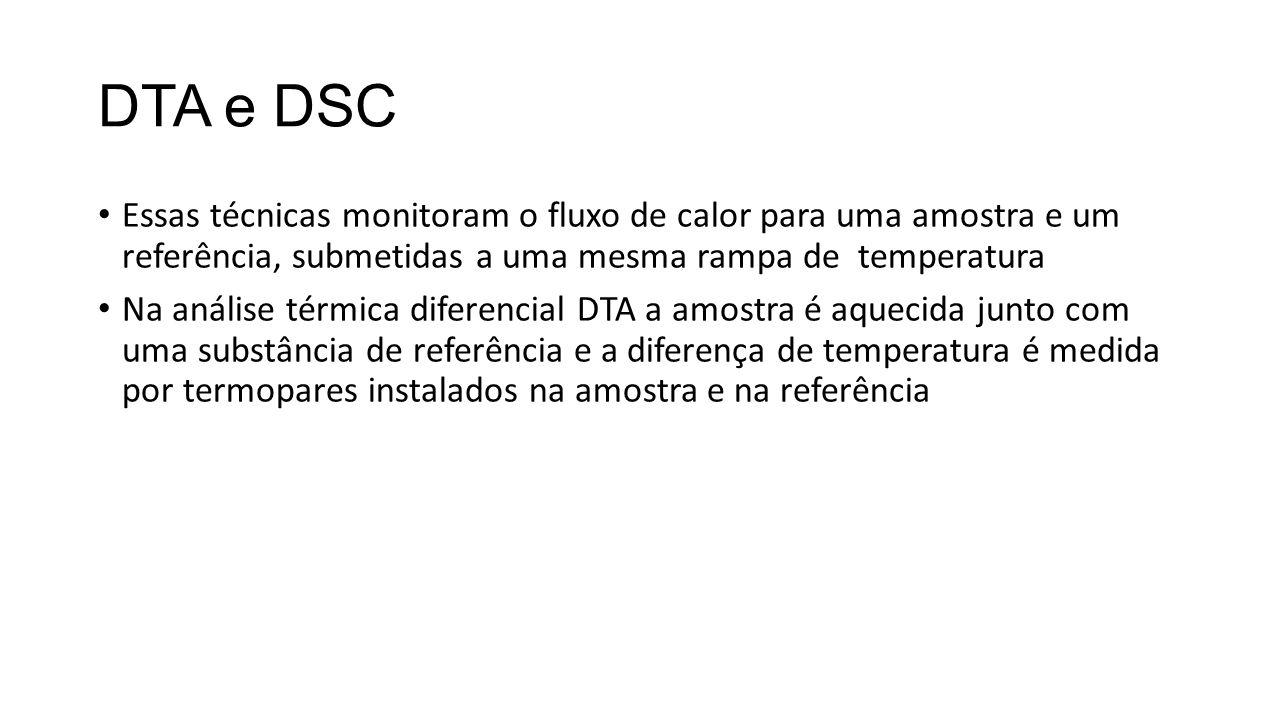 DTA e DSC Essas técnicas monitoram o fluxo de calor para uma amostra e um referência, submetidas a uma mesma rampa de temperatura Na análise térmica d