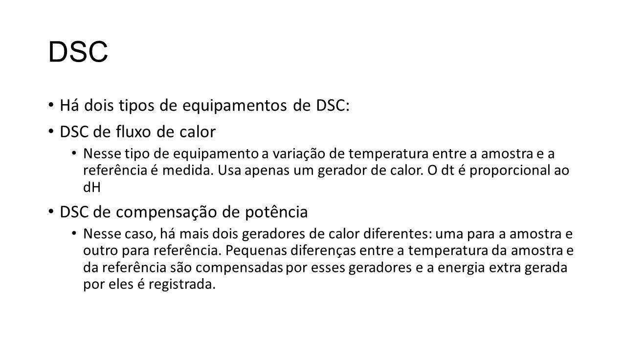 DSC Há dois tipos de equipamentos de DSC: DSC de fluxo de calor Nesse tipo de equipamento a variação de temperatura entre a amostra e a referência é m