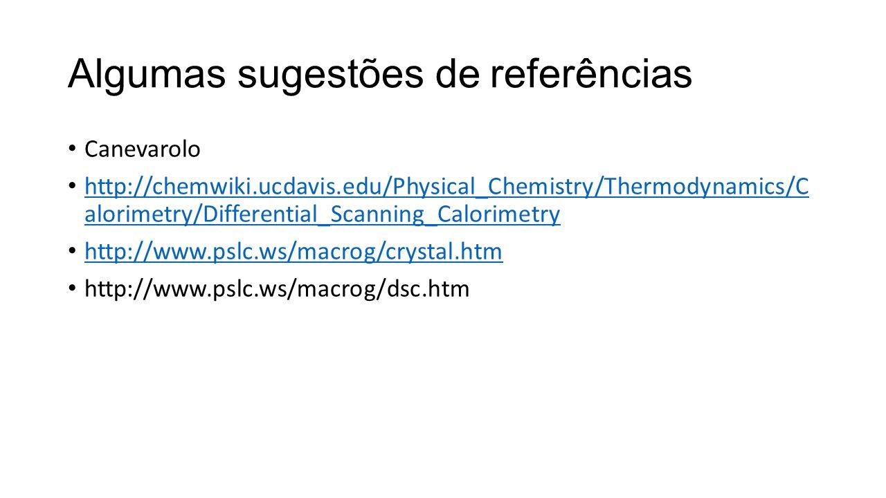 Algumas sugestões de referências Canevarolo http://chemwiki.ucdavis.edu/Physical_Chemistry/Thermodynamics/C alorimetry/Differential_Scanning_Calorimet