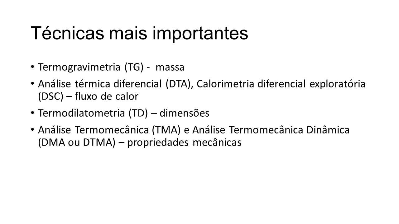 Técnicas mais importantes Termogravimetria (TG) - massa Análise térmica diferencial (DTA), Calorimetria diferencial exploratória (DSC) – fluxo de calo