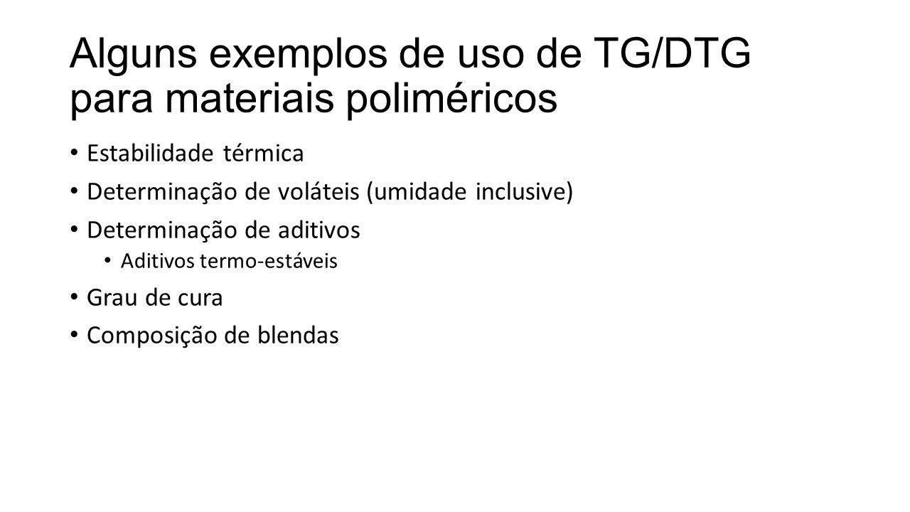 Alguns exemplos de uso de TG/DTG para materiais poliméricos Estabilidade térmica Determinação de voláteis (umidade inclusive) Determinação de aditivos