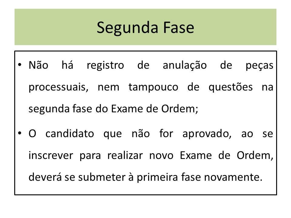 Segunda Fase Não há registro de anulação de peças processuais, nem tampouco de questões na segunda fase do Exame de Ordem; O candidato que não for aprovado, ao se inscrever para realizar novo Exame de Ordem, deverá se submeter à primeira fase novamente.