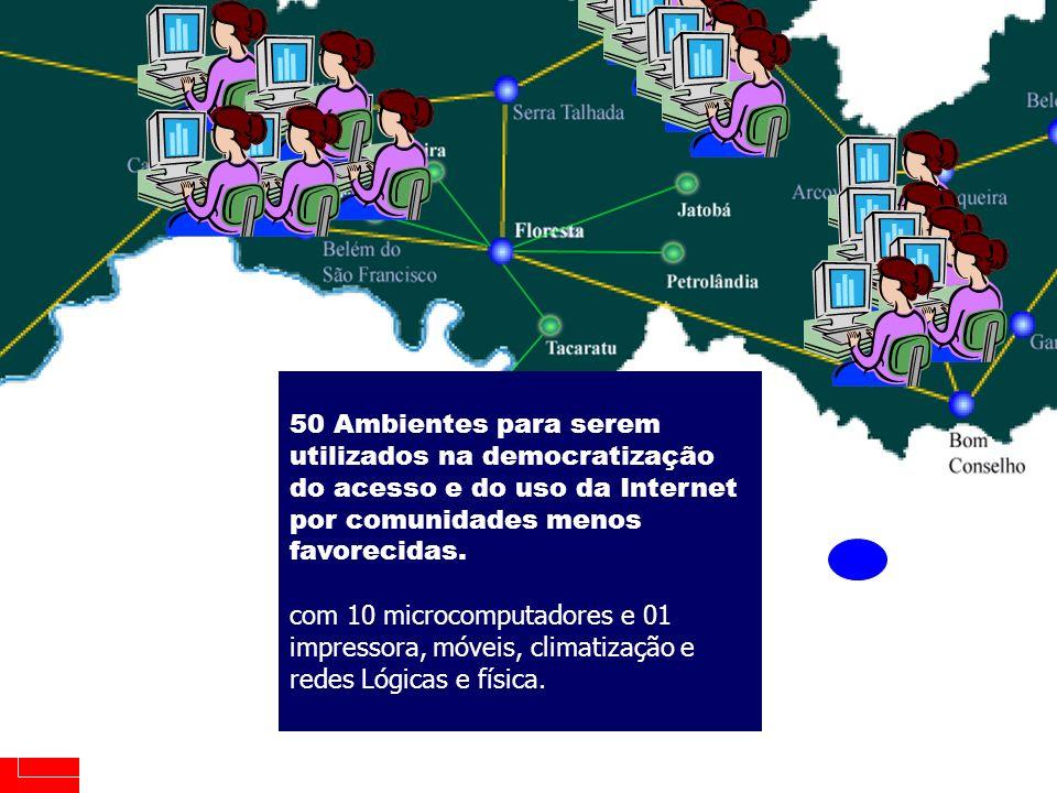 ABRANGÊNCIA GOVERNO DO ESTADO DE PERNAMBUCO SARE Projeto PE-MULTIDIGITAL 9 50 Ambientes para serem utilizados na democratização do acesso e do uso da Internet por comunidades menos favorecidas.