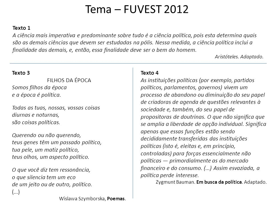 Tema – FUVEST 2012 Os textos aqui reproduzidos falam de política, seja para enfatizar sua necessidade, seja para indicar suas limitações e impasses no mundo atual.