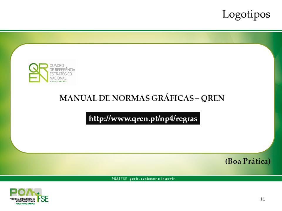 11 MANUAL DE NORMAS GRÁFICAS – QREN (Boa Prática) Logotipos http://www.qren.pt/np4/regras