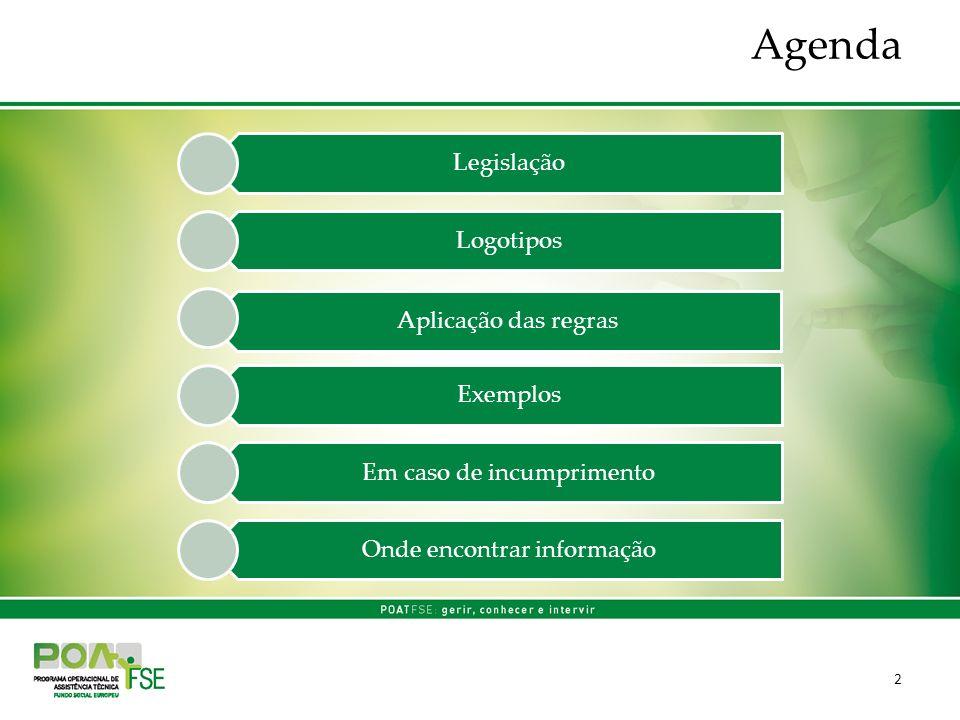 Agenda 2 Legislação Logotipos Aplicação das regras Exemplos Em caso de incumprimento Onde encontrar informação
