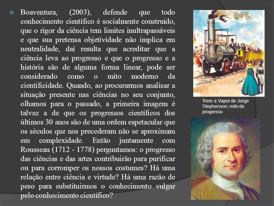 Boaventura, (2003), defende que todo conhecimento científico é socialmente construído, que o rigor da ciência tem limites inultrapassáveis e que sua p