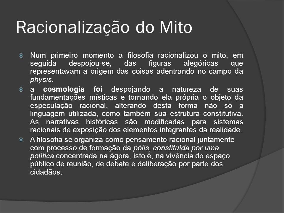 Racionalização do Mito Num primeiro momento a filosofia racionalizou o mito, em seguida despojou-se, das figuras alegóricas que representavam a origem