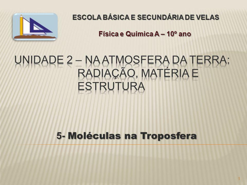 5- Moléculas na Troposfera 5- Moléculas na Troposfera ESCOLA BÁSICA E SECUNDÁRIA DE VELAS Física e Química A – 10º ano 1