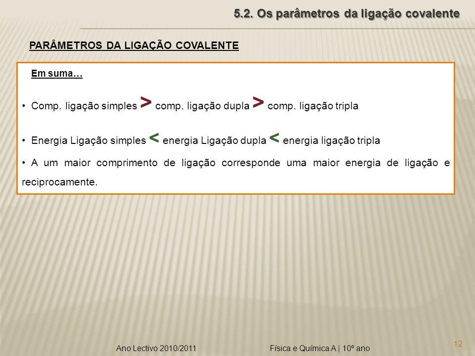 Física e Química A   10º ano 12 Ano Lectivo 2010/2011 5.2.