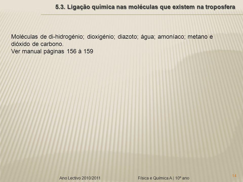 Física e Química A | 10º ano 14 Ano Lectivo 2010/2011 5.3. Ligação química nas moléculas que existem na troposfera Moléculas de di-hidrogénio; dioxigé