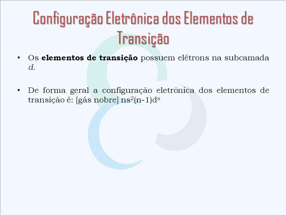 Configuração Eletrônica dos Elementos de Transição Os elementos de transição possuem elétrons na subcamada d. De forma geral a configuração eletrônica