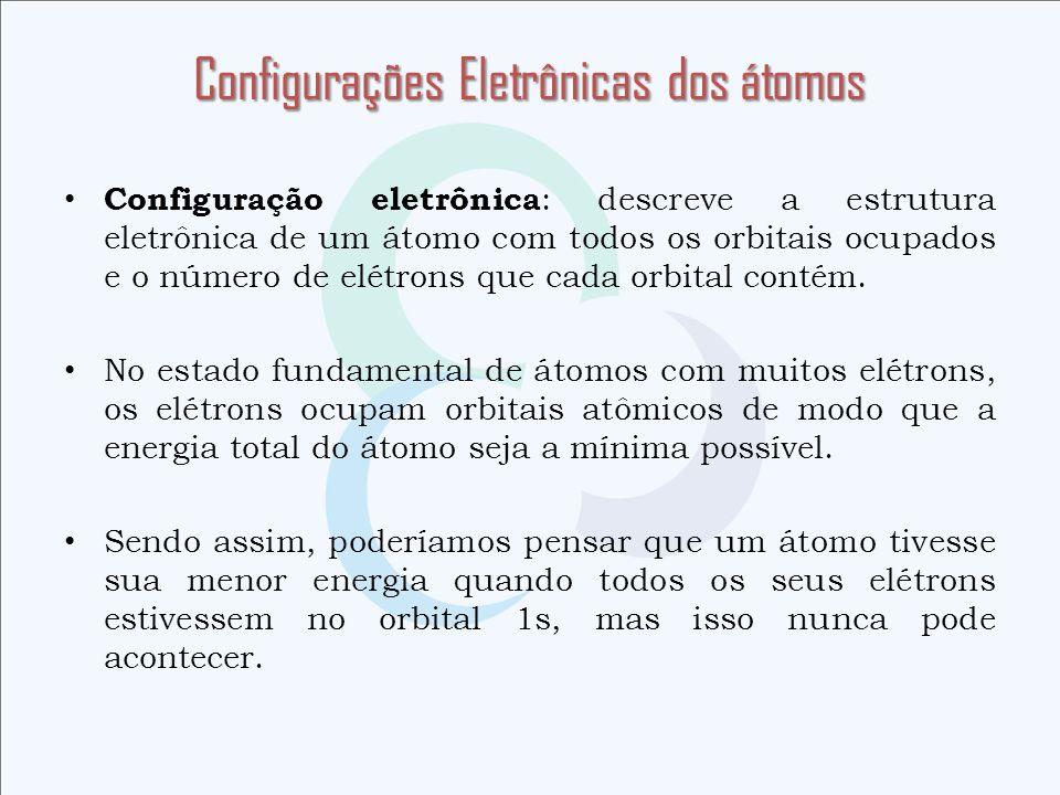 Configuração eletrônica : descreve a estrutura eletrônica de um átomo com todos os orbitais ocupados e o número de elétrons que cada orbital contém. N
