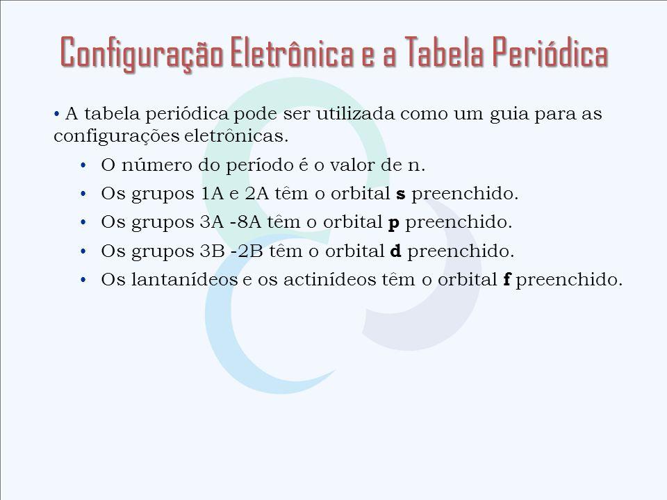 A tabela periódica pode ser utilizada como um guia para as configurações eletrônicas. O número do período é o valor de n. Os grupos 1A e 2A têm o orbi