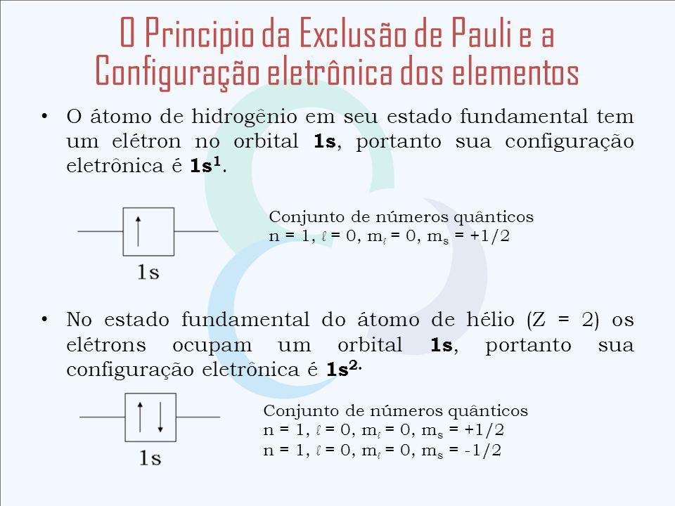 O átomo de hidrogênio em seu estado fundamental tem um elétron no orbital 1s, portanto sua configuração eletrônica é 1s 1. No estado fundamental do át