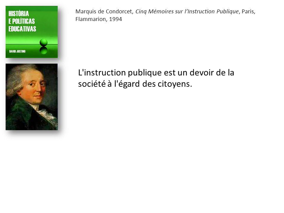 Marquis de Condorcet, Cinq Mémoires sur lInstruction Publique, Paris, Flammarion, 1994 L instruction publique est un devoir de la société à l égard des citoyens.