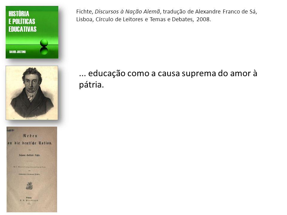 Fichte, Discursos à Nação Alemã, tradução de Alexandre Franco de Sá, Lisboa, Círculo de Leitores e Temas e Debates, 2008....