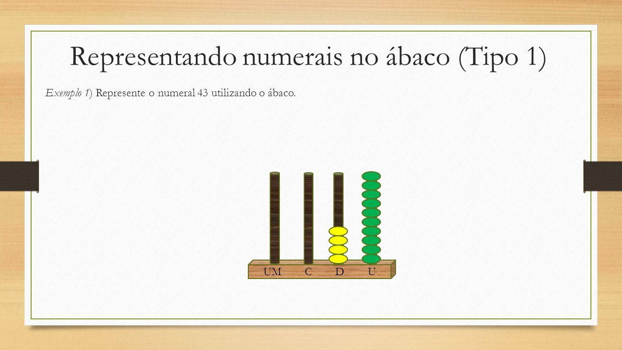 Representando numerais no ábaco (Tipo 1) Exemplo 1) Represente o numeral 43 utilizando o ábaco. UM C D U